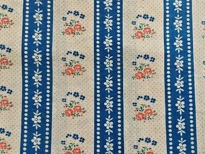 """4 Yds Vintage Dutch Design White Blue Red Floral Stripped Cotton Fabric 56"""" W"""
