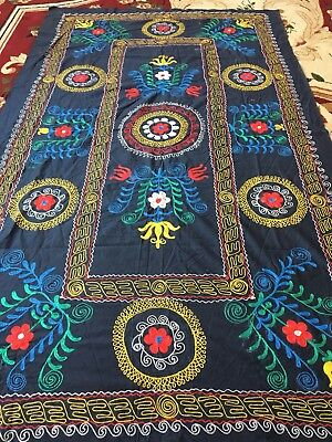 Dark Blue Uzbek Antique Vintage Wall Hanging Tablecloth Emboidery Suzani