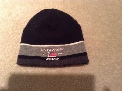 b9f8ab8ae US POLO ASSN BEANIE STOCKING Knit Color Block HAT Blue Striped White ...