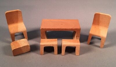 Dollhouse Furniture Wood Made in Japan Dining Kitchen Table & Chairs Stools