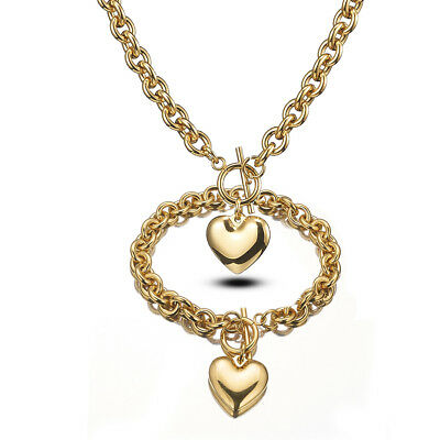 Women Lady Gold Stainless Steel Rolo Chain Heart Necklace Bracelet Toggle Set