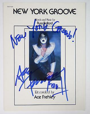 """Ace Frehley KISS Signed Autograph """"New York Groove"""" Sheet Music"""