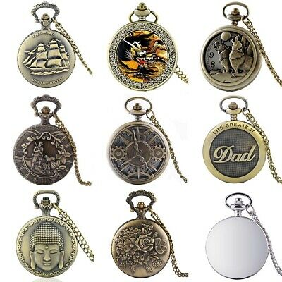 Steampunk Quartz Retro Vintage Pocket Watch Necklace Pendant Chain Men Gift New