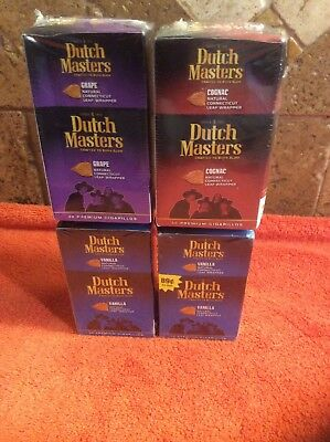 DUTCH MASTERS CT Leaf Wrapper Vanilla Grape Cognac Strawberry 120 Total NEW