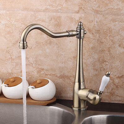 Solid Antique Brass Kitchen Sink Faucet One Handle Swivel Mixer Tap Deck Mounted