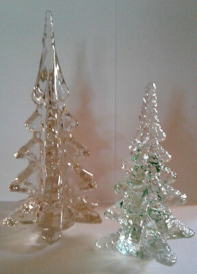 "2 SOLID GLASS CHRISTMAS TREE FIGURINES 6.5""T and 9""Tall"