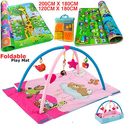 2 Side Baby Kids Crawling Educational Play Mat Soft Foam Carpet Musical Light Uk