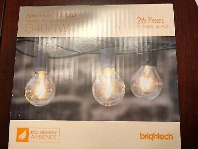 Brightech Ambience PRO LED String Lights with G40/1W LED Bulbs - 26 Ft Black
