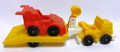Vintage 1983-90 FISHER-PRICE Little People INDY RACER SET#347 Car & Hauler