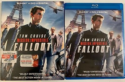 Mission Impossible Fallout Blu Ray Dvd 3 Disc Set + Slipcover Sleeve & Stuntbook