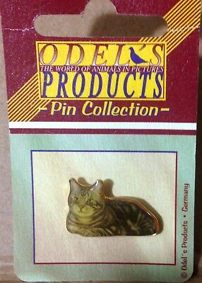 Silver Tabby Cat Pin Hat Pin Lapel Pin Photo Pin Odel's Germany BNIP Gold Tone