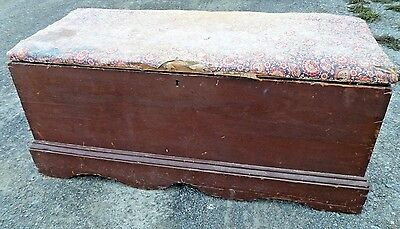 Early Blanket Chest Trunk Antique AAFA primitive box old wallpaper lined