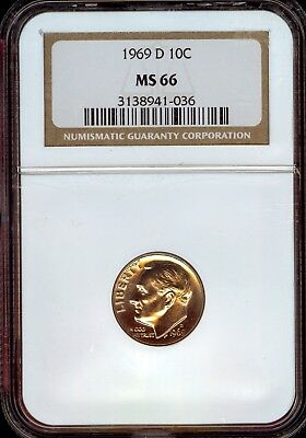 1969-D Roosevelt Dime Grade MS66 by NGC ..