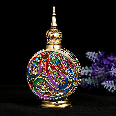 Vintage Empty Crystal Cut Glass Perfume Bottle Metal Round Shaped Lady Gift 18ml