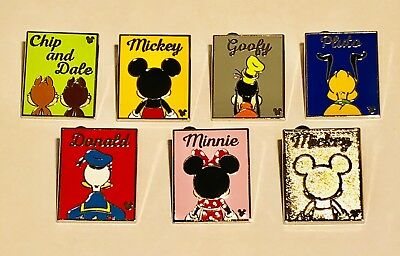 Disney Disneyland DLR 2018 Hidden Mickey Back Silhouette Complete Pin Set of 7