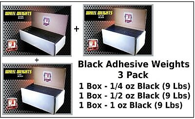 3 Boxes Black 1/4, 1/2, 1.00 oz. Wheel Weights Stick On Adhesive Tape 27 lbs