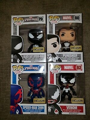 Funko Pop BlackSuit Spiderman 79, Punisher 80, Spiderman 2099 81, Venom 82, Rare