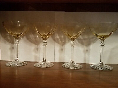 Fostoria Stemware 5098 5298 Fairfax Topaz Yellow Champagne Tall Sherbet Set of 4