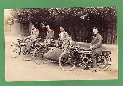 Motorcycle Sidecar line up Douglas Rudge RP pc used 1917 London Ref L974