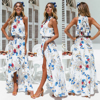 Women Boho Long Maxi Dress Summer Beach Evening Cocktail Party Floral Sundress P