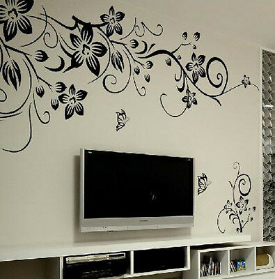 Removable Butterfly Flower DIY Vinyl Decal Art Mural Home Decor Wall Stickers-#