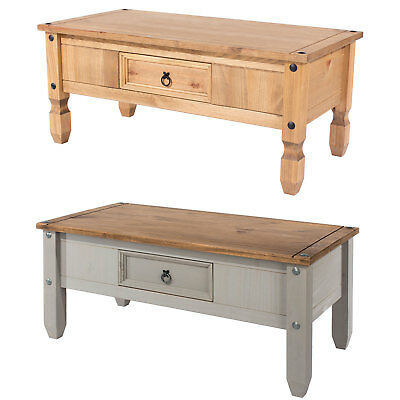 Corona Mexican Solid Pine Living Room Coffee Table 1 Drawer In Wax & Grey Wash