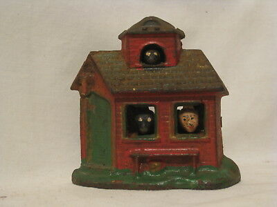 vintage cast iron coin bank mechanical horse barn school ? old Taiwan antique