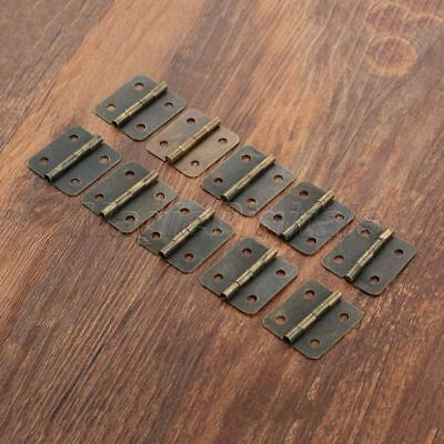 10x Small Vintage Metal Hinges Jewelry Box Dollhouse Cabinet Door Hinges 30*21mm