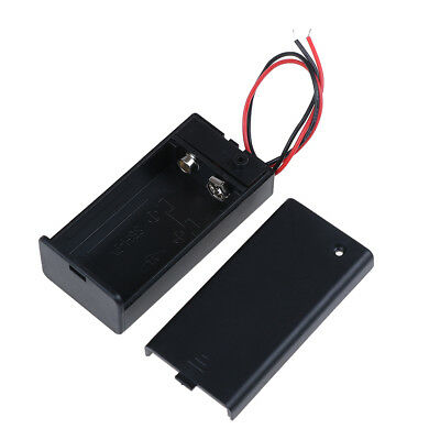 9V Volt PP3 battery holder box dc case w/ wire lead on/off switch cover ^F