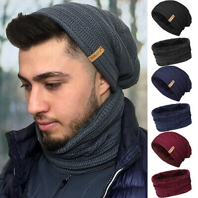 Mens Thermal Fleece Lined Slouch Beanie Hat and Neckwarmer Snood Skiing, Hiking…