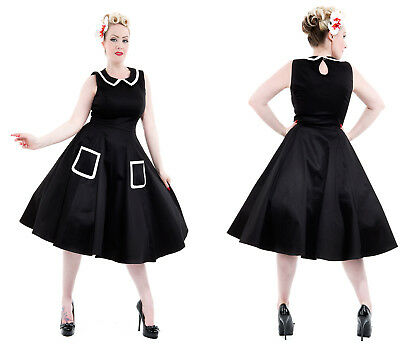 Retro 1950s style black and white Rockabilly dress size UK 8 by Hearts&Roses