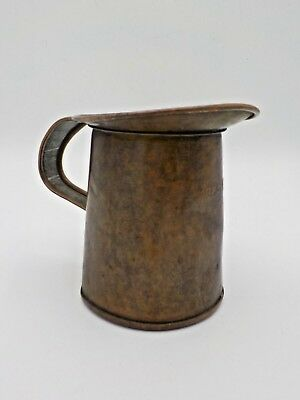 Antique 1890's Copper over Tin Kreamer New York 1 Pint Measuring Pitcher #03