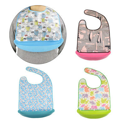 Reusable Washable Adult Bib Clothing Eating Mealtime Protector w/ Catcher