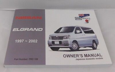 Fits Nissan Elgrand E50 1997- 2002 Owners Handbook & Service Booklet