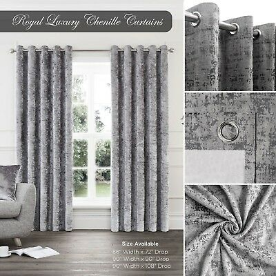 Grey Silver Pair Of Eyelet Ring Top Fully Lined Crushed Chenille Velvet Curtains