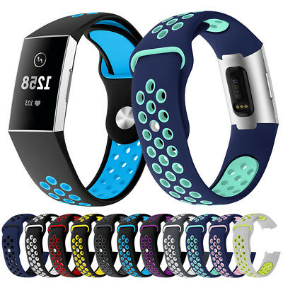Breathable Silicone Sports Soft Band for Fitbit Charge3 Watch Strap Replacement