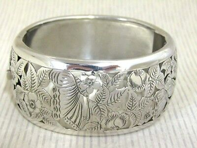 Solid Silver - Large Pierced Bangle - Butterflies & Flowers    Unmarked