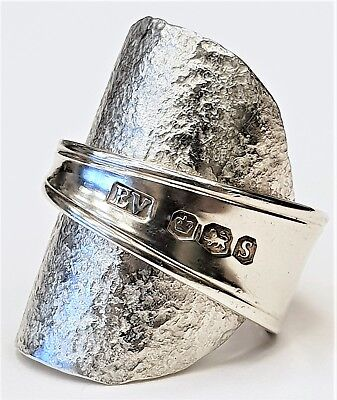 Solid 925 sterling silver vintage 1960 hammered spoon ring SIZES L M N O P Q R S
