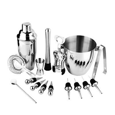 Stainless Steel Cocktail Shaker Tool Set Barware Bar Bartender Set of 16pcs