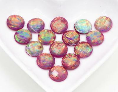 40pcs 12mm Mix Pink Built-in metal foil Resin Cabochons  Jewelry DIY accessories