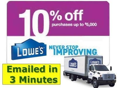 Five (5x) Lowes 10% Off Discount Savings- expires 01/31/2019 gs