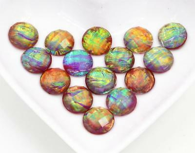 40pcs 12mm Rainbow Built-in metal foil Resin Cabochons  Jewelry DIY accessories