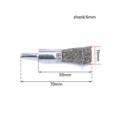 16mm Stainless Steel Wire Wheel Cup Brushes Cleaner Buffing Tool 6mm Shank