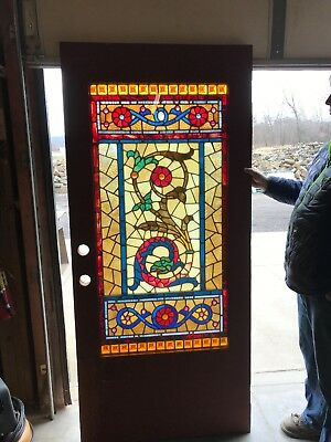 An 484 Jeweled Stained Glass Entrance Door With Serpent 35.75 x 79