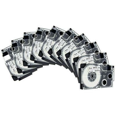10PK Compatible Casio XR-9WE XR-9WE2S Black on White 9mm Label Tape KL-100 new