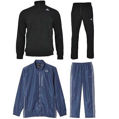Adidas Mens Woven Tracksuit Essential Climalite Black Navy Full Zip Jacket Pant