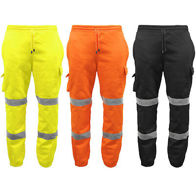 Mens Hi Viz Fleece Work Wear Bottoms Safety Sweat Pants Combat Trousers Joggers