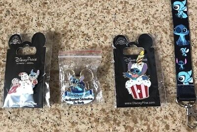 Stitch Disney Pin Lot Of 3!. FREE STITCH  LANYARD US SELLER!