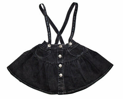 Paper Wings Girls Black Washed Denim Jumper Skirt Chasing Fireflies Size 5 NWT
