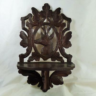 Antique Black Forest Carved Vintage Wall Display Stand Stag